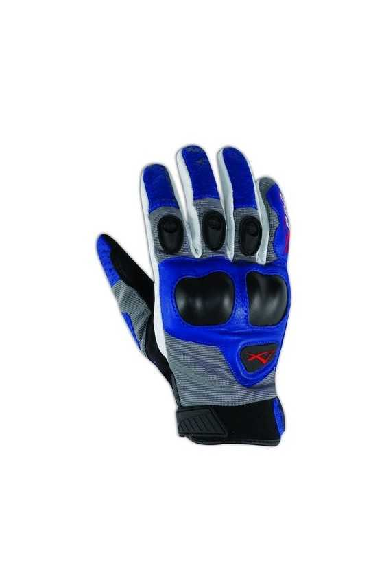 Leather Gloves A-Pro Block Grey-Blue