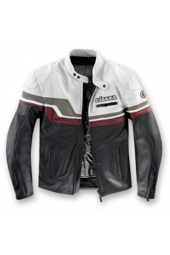 Clover T-72 Ice Leather Motorcycle Jacket | Black/Ice