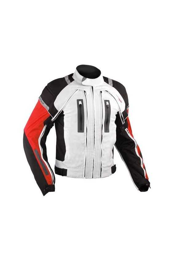 A-Pro Areotech White-Red Touring Motorcycle Jacket