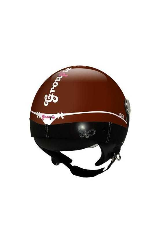 Casco Moto Donna Jet Max Groupie Shiny Brown