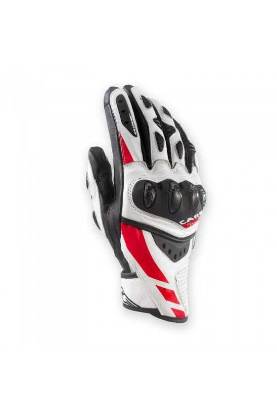Clover RSC-3 Short Motorcycle Gloves White-Red