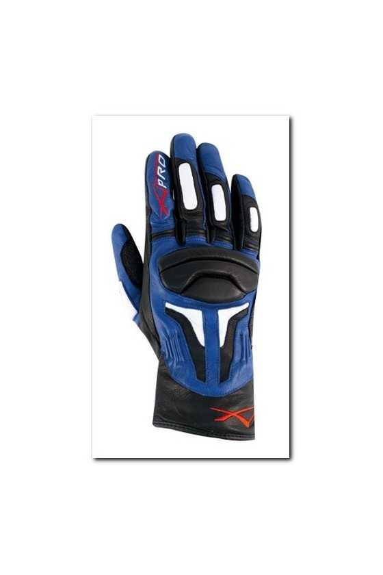 Leather Gloves A-Pro Fire Power Black Blue